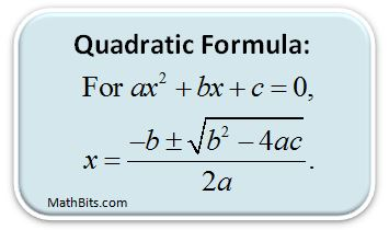 Quadratic Formula - MathBitsNotebook(A1 - CCSS Math)