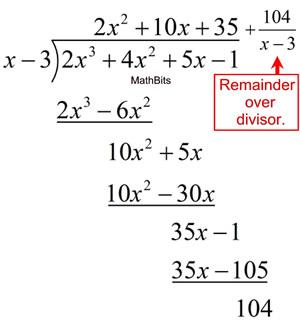 Polynomial Long Division - MathBitsNotebook(A2 - CCSS Math)