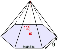 how to find volume of right square pyramid
