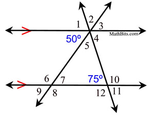 Angles and Parallel Lines Practice - MathBitsNotebook(Geo - CCSS Math)