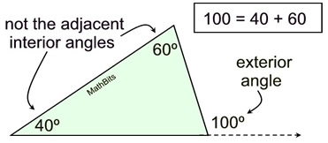 Exterior Angles in a Triangle - MathBitsNotebook (Geo - CCSS