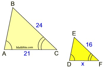 Numeric And Algebraic Problems In Similar Triangles